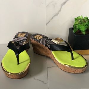 Dolce Vita Yellow and Snakeskin Platform Sandals